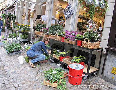 Flower shop in Bruges Editorial Stock Image