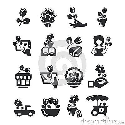 Free Flower Shop Icons Stock Image - 32501001
