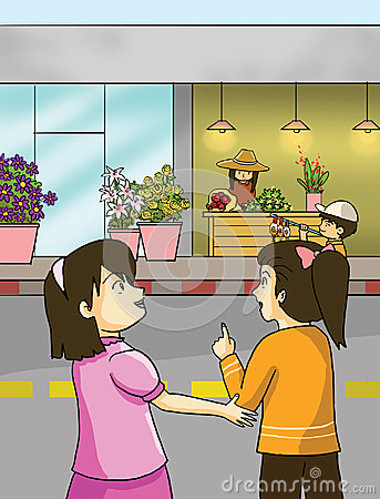 Free Flower Shops And Little Girls Royalty Free Stock Image - 28409936