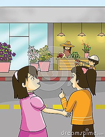 Flower shops and little girls