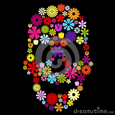 Flower skull in colors