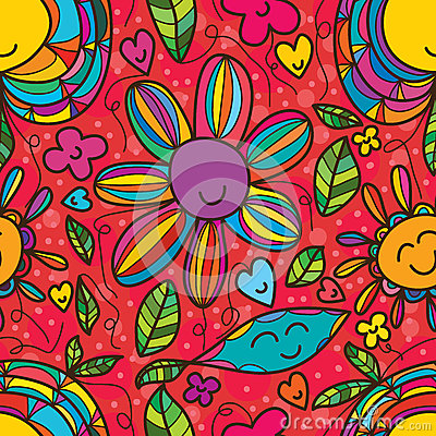 Free Flower Smile Drawing Seamless Pattern Royalty Free Stock Images - 69941229