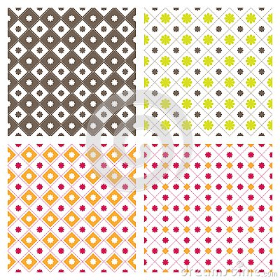 Flower Square Seamless Pattern Background