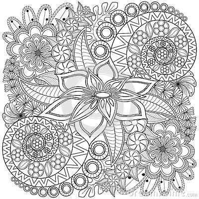 Flower Swirl Coloring Page Pattern Stock Photo Image