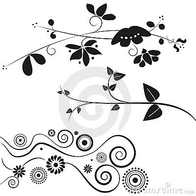 Flower and swirl decorations Vector Illustration