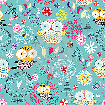 Free Flower Texture With Owls Royalty Free Stock Photos - 25229648