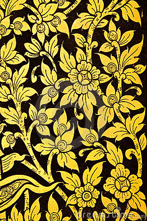 Flower in Thai traditional style painting.