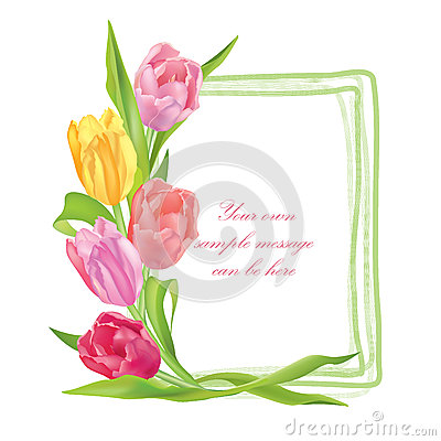 Flower tulips bouquet frame isolated on white background
