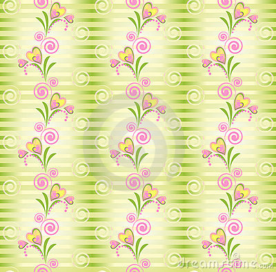 Flower Vector heart stripe seamless pattern