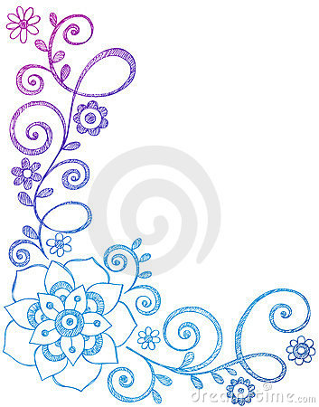 Flower And Vines Border Sketchy Notebook Doodles Royalty Free Stock Photography Image 11616067