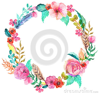 Free Flower Watercolor Wreath Royalty Free Stock Photos - 50883178