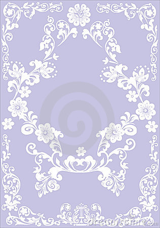 Flower white frame on lilac