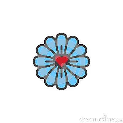 Free Flower With Love Heart Filled Outline Icon Royalty Free Stock Photo - 107714465