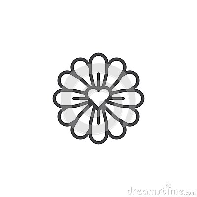 Free Flower With Love Heart Line Icon Royalty Free Stock Photo - 107485335