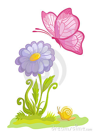 Free Flower With The Butterfly Royalty Free Stock Photography - 13540667