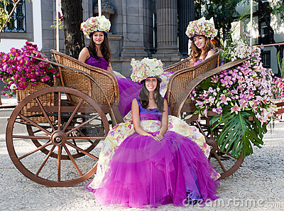 Flower women in carriage Editorial Stock Image