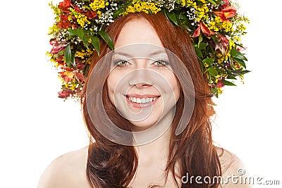 Flower wreath on head over white