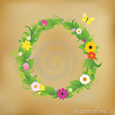Flower Wreath On Old Paper