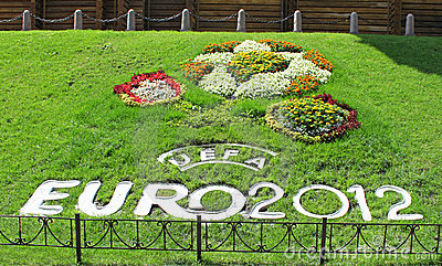 Flowerbed for EURO 2012 Editorial Photography