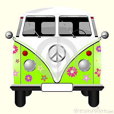 Free Flowered Hippie Van Royalty Free Stock Photos - 9976448