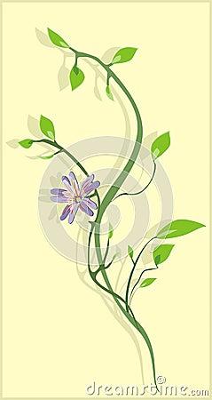 Flowering sprig. Background for card