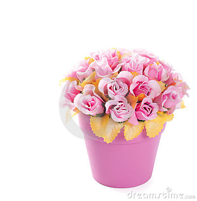 Flowerpot with artificial roses