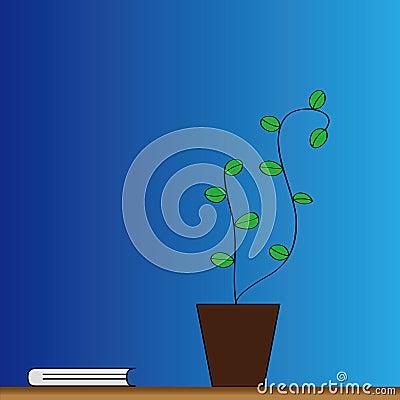 Flowerpot and book