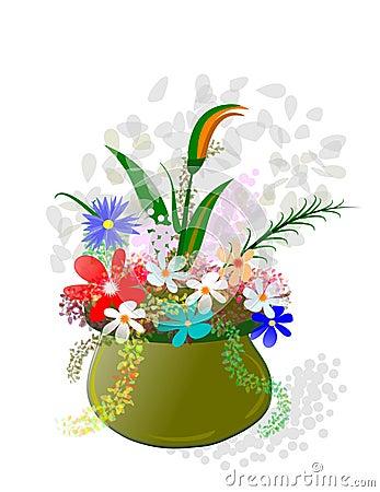 Flowerpot and flowers,
