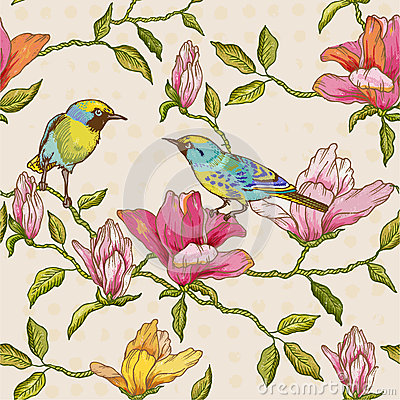 Free Flowers And Birds Background Royalty Free Stock Images - 42687179