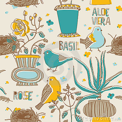 Free Flowers And Birds Seamless Pattern Stock Photo - 18455550