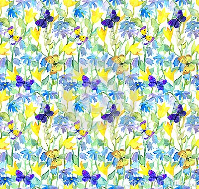 Free Flowers And Butterflies. Watercolor Floral Seamless Pattern. Watercolour Stock Photography - 74404792