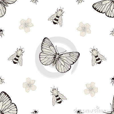 Free Flowers And Insects Seamless Pattern Royalty Free Stock Images - 48233699