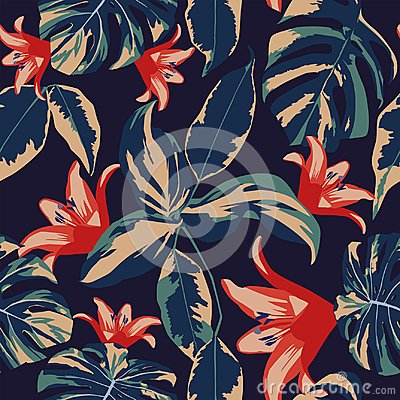 Free Flowers And Leaves Seamless Dark Blue Background Stock Photo - 100959570