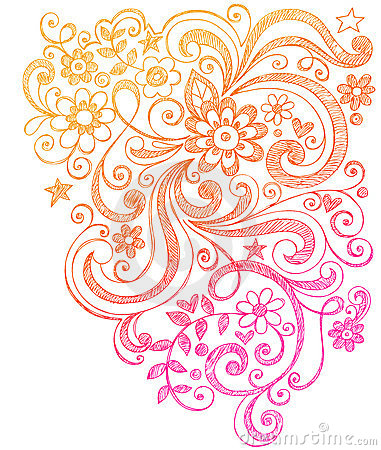 Free Flowers And Swirls Sketchy Notebook Doodles Royalty Free Stock Image - 11490606