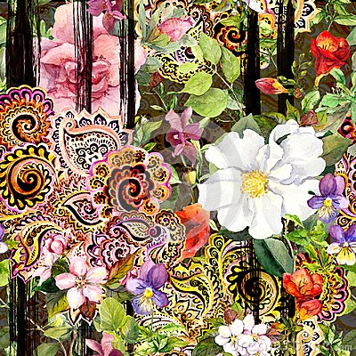 Free Flowers At Black Striped Background. Repeating Floral Pattern With Decorative Ornate Embroidery. Watercolor With Black Royalty Free Stock Photos - 120010988