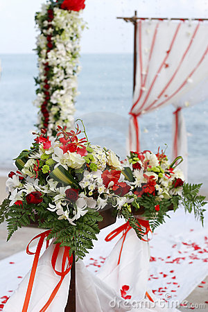 Flowers at beach wedding