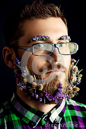 Flowers in beard