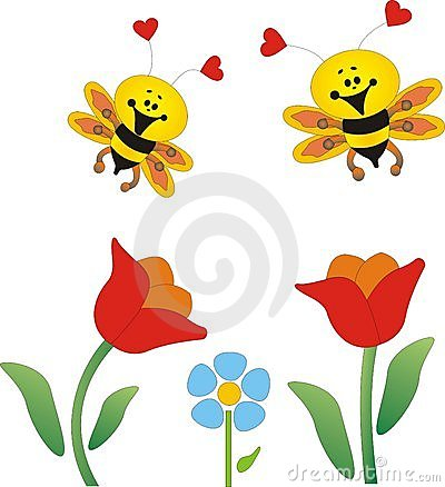Flowers And Bees Royalty Free Stock Photo - Image: 280755