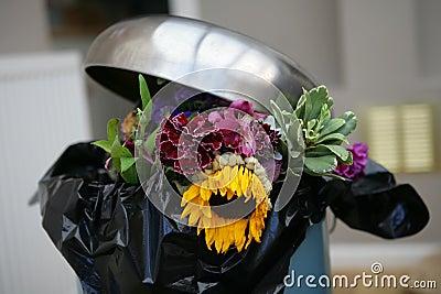 Flowers in a bin