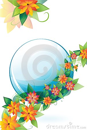 Flowers with a blue circle