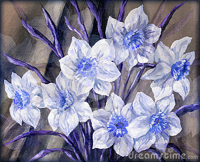 Flowers blue and white
