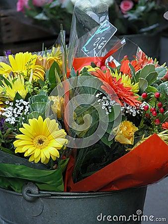 Flowers in a bucket.