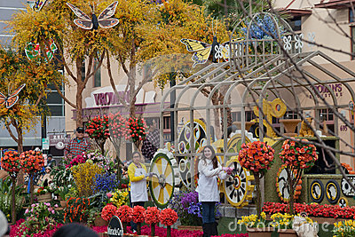 Flowers and Butterfiles in the Rose Bowl Parade Editorial Photography