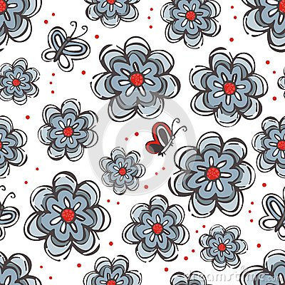 Flowers and butterflies blue red gray elements