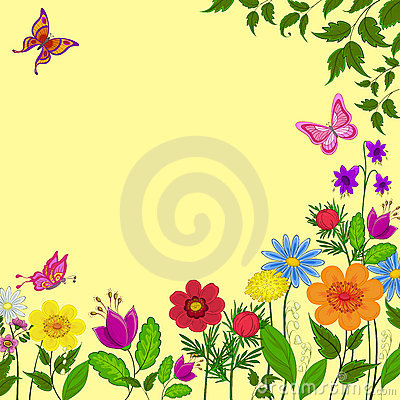 Flowers, butterflies and leaves