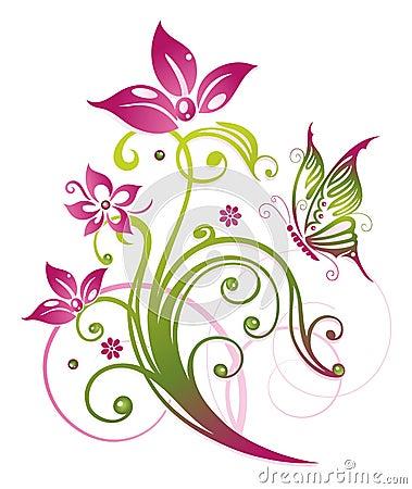 Flowers, butterfly, summer