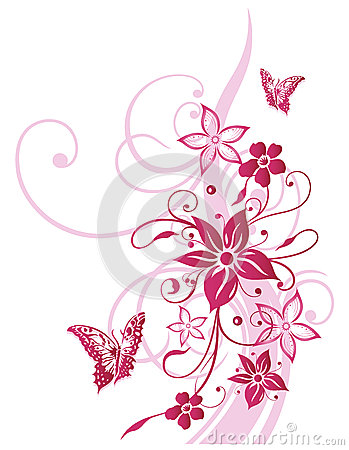 Flowers, butterfly, summer, pink