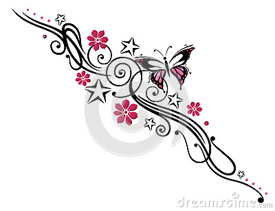 Flowers, butterfly, tendril