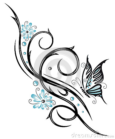 Flowers, butterfly, tendril, tribal