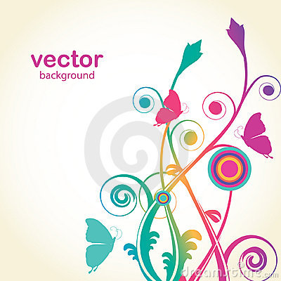 Flowers and butterfly. Vector card